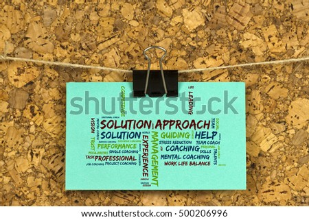 Solution approach word cloud on business stock photo royalty free solution approach word cloud on business card pinned up on cork board reheart Choice Image