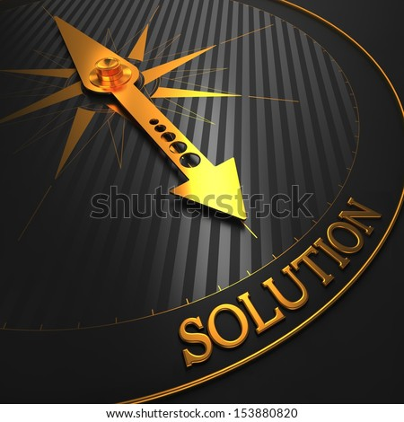 """Solution - Business Background. Golden Compass Needle on a Black Field Pointing to the Word """"Solution"""". 3D Render. - stock photo"""