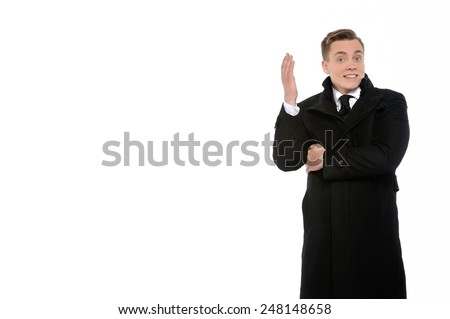 Solution can always be found. Portrait of a young energetic businessman. Copy space on the left is for your text.   - stock photo