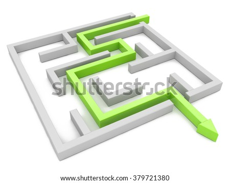 Solution concept: green arrow path showing labyrinths end, way out in the design of access to information relating to the business - stock photo