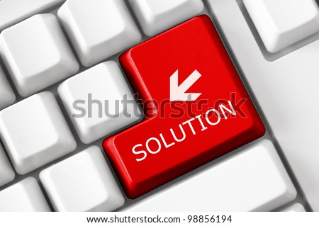Solution concept on the modern keyboard - stock photo