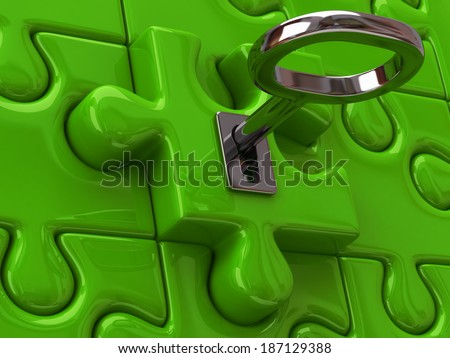 Solution concept. Silver key and green puzzle. - stock photo