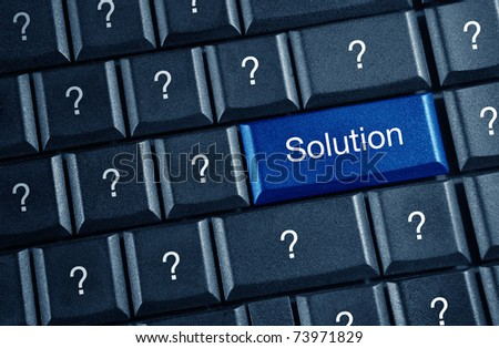 solution concept with blue keyboard button - stock photo