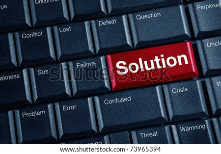 solution concept with red keyboard button - stock photo