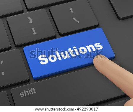 solution concepts, a message on enter key of computer keyboard, 3d rendering
