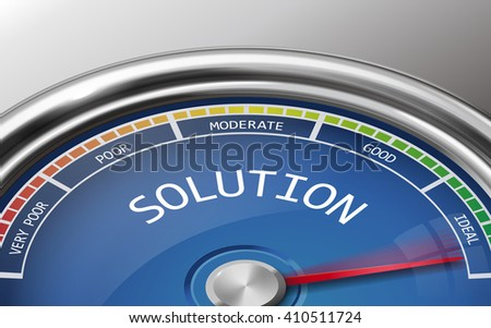 solution conceptual 3d illustration meter indicator isolated on grey background