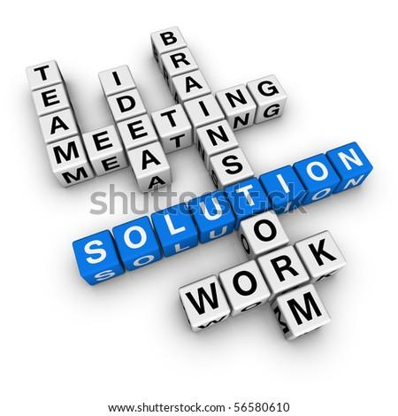 solution crossword (blue-white cubes crossword series) - stock photo