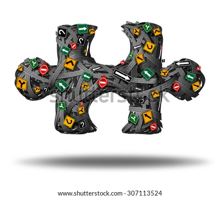 Solution Direction business road concept as a group of streets and traffic signs tangled in a puzzle piece icon as a symbol for the key to finding answers to a complicated strategy. - stock photo