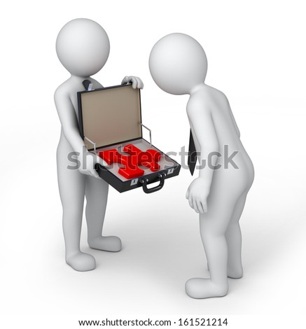 solution in a suitcase, 3d image with work path - stock photo