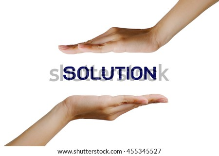 Solution in hand concept on white background, selective focus.