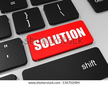 SOLUTION key on keyboard of laptop computer. 3D illustration.