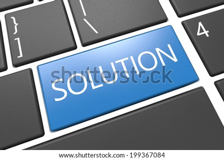 Solution - keyboard 3d render illustration with word on blue key