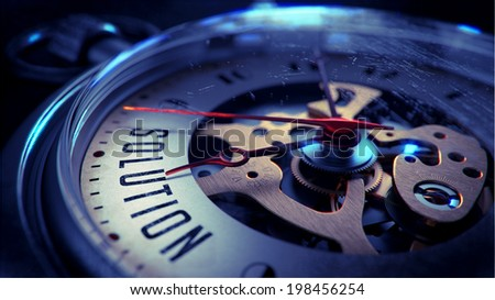 Solution on Pocket Watch Face with Close View of Watch Mechanism. Time Concept. Vintage Effect. - stock photo