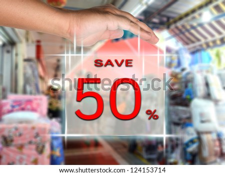 Solution screen interface for save 50 percent sale on market background.