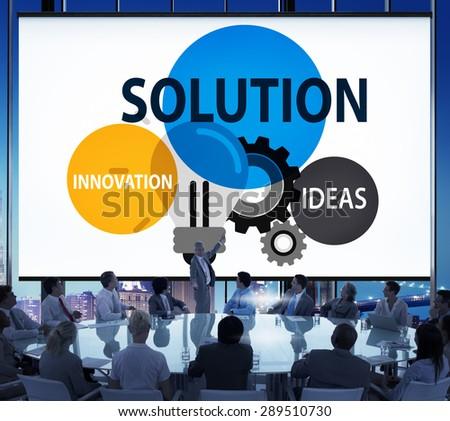 Solution Strategy Ideas Innovation Creativity Concept - stock photo
