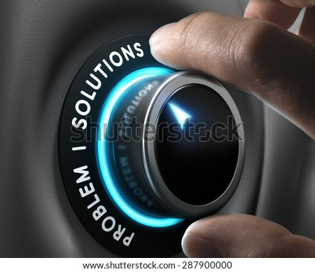 Solution switch positioned on the word solutions over grey background with blue lights. Concept of problem solving.  - stock photo