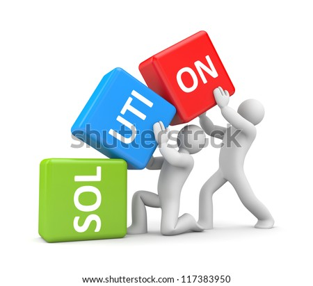 Solution. Teamwork metaphor - stock photo