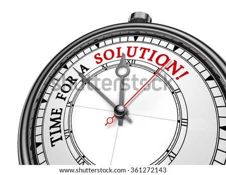 Solution time red message on concept clock, isolated on white background