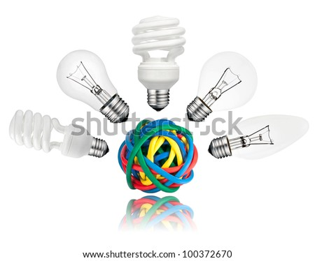 Solution - Various Lightbulbs above ball of colored cables with reflection isolated on white background. Golf ball, candle, normal and saver type lightbulbs - stock photo