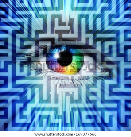 Solution vision business success concept with a human eye on a maze or labyrinth puzzle as a metaphor for innovative leadership to overcome challenges through intelligent creative strategy. - stock photo