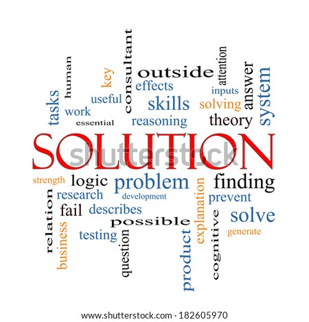Solution Word Cloud Concept with great terms such as theory, problem, solve and more. - stock photo