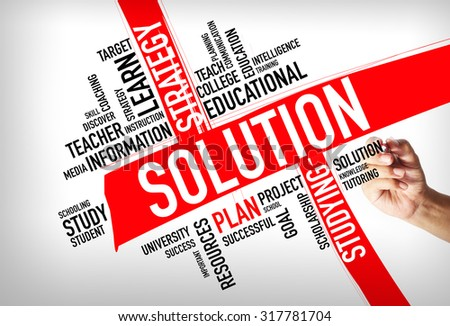 SOLUTION word cloud, education concept - stock photo
