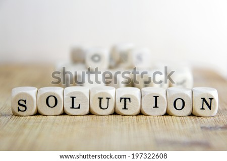Solution word concept - stock photo