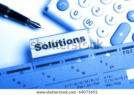 solution word on business folder showing solving a problem concept - stock photo