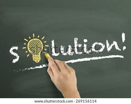 solution word written by hand over chalkboard  - stock photo