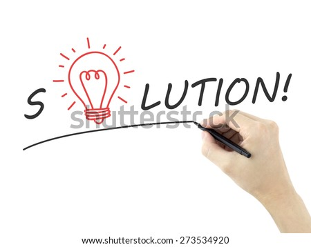 solution word written by man's hand over white background