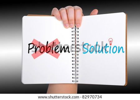 solution words on book - stock photo