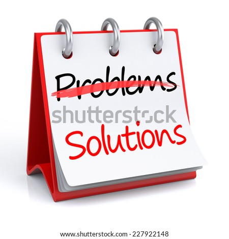 Solutions and Problems. 3d rendering isolated calendar with Solutions and Problems text - stock photo