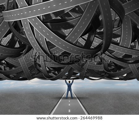 Solutions concept road metaphor as a businessperson lifting a massive group of tangled roads or highways as an open clear straight path to success as a symbol for management skills and leadership. - stock photo
