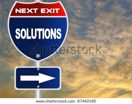 Solutions road sign - stock photo