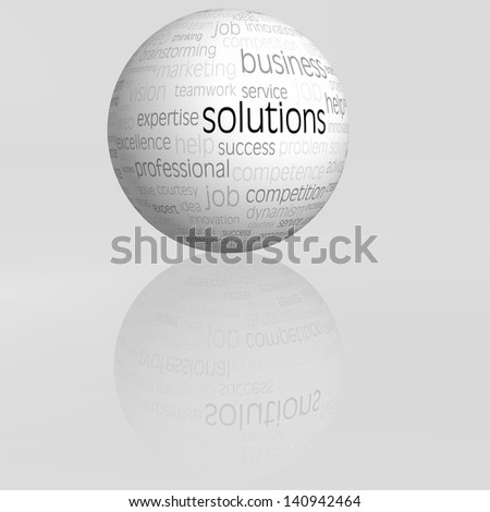 solutions sphere with reflection isolated - stock photo