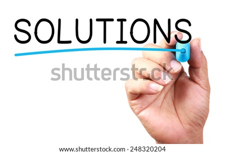 Solutions text with line written on transparent whiteboard.