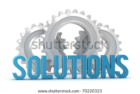 Solutions word with cogs in background isolated on white - stock photo