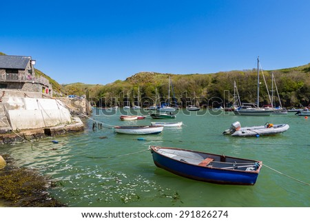 Solva in St Brides Bay in Pembrokeshire Coast National Park Wales UK Europe - stock photo