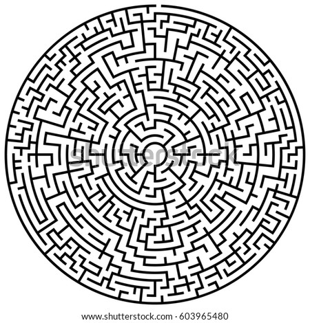 Round Maze Labyrinth Entry Exit Find Stock Vector ...