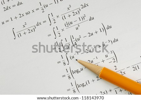 Solve a college Mathematics problem concepts of education - stock photo