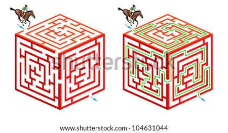 Solve this original three dimensional maze game: help the rider and his horse to cross the cube and find the way out Solution included - stock photo