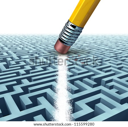 Solving a problem  and finding the best creative solution against a complicated and complex three dimensional maze having a clear shortcut path created by erasing the labyrinth with a pencil eraser. - stock photo