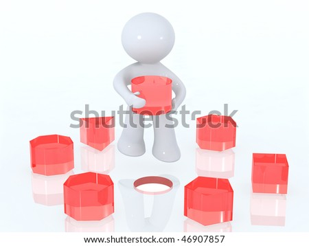 Solving the puzzle - stock photo