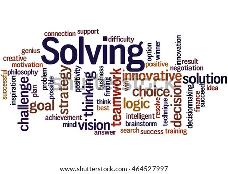 Solving, word cloud concept on white background.