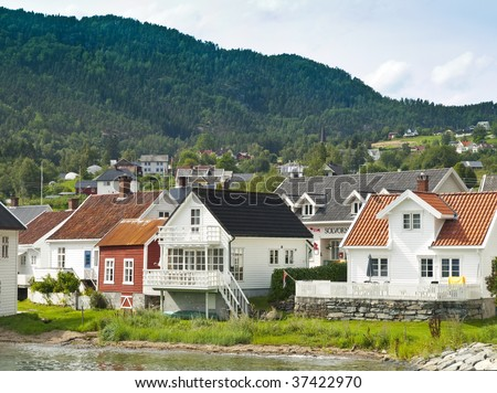 Solvorn harbour in the Sognefjord, Norway - stock photo