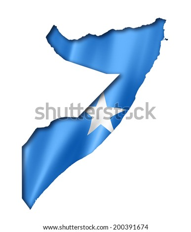 Somalia flag map, three dimensional render, isolated on white - stock photo