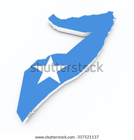 somalia flag on 3d map