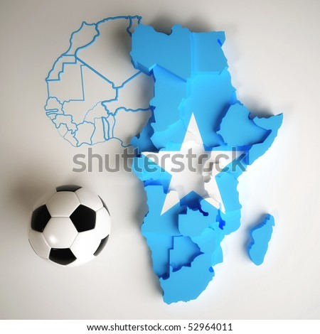 Somalia flag on map of Africa with national borders - stock photo
