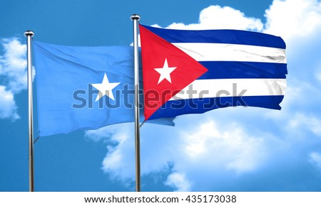 Somalia flag with cuba flag, 3D rendering