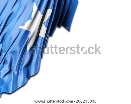 Somalia Flag with white - stock photo